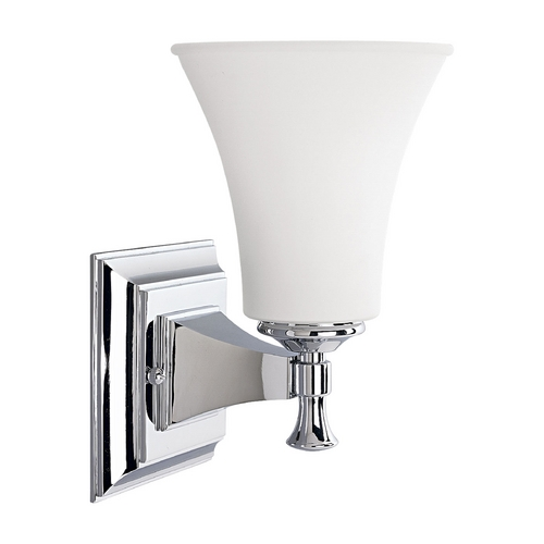 Progress Lighting Progress Sconce Wall Light with White Glass in Chrome Finish P3131-15