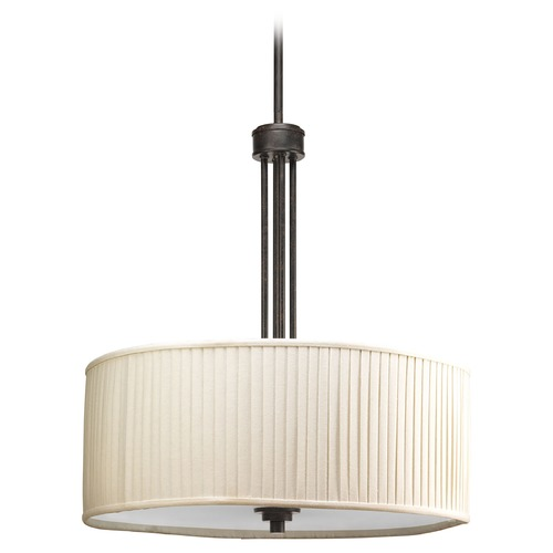 Progress Lighting Progress Pleated Drum Pendant Light in Espresso Finish P3909-84