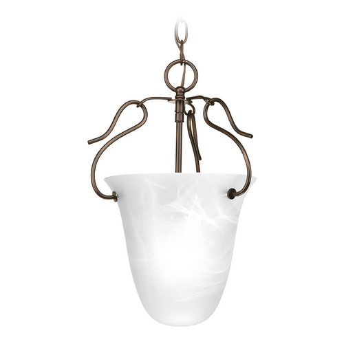 Progress Lighting Pendant Light with Alabaster Glass in Antique Bronze Finish P3788-20