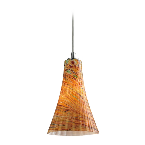 Elk Lighting Modern Mini-Pendant Light with Amber Glass 10221/1AMF