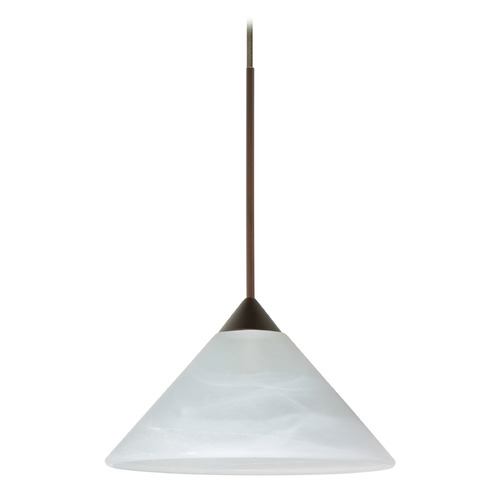 Besa Lighting Besa Lighting Kona Bronze LED Mini-Pendant Light with Conical Shade 1XT-117652-LED-BR