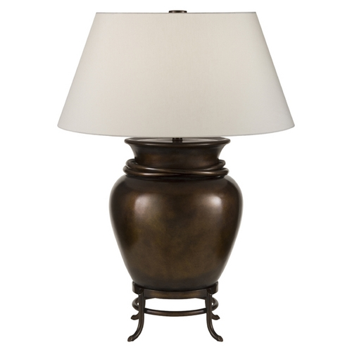 Fine Art Lamps Fine Art Lamps Recollections Antiqued, Gold-Stained Silver Leaf Table Lamp with Drum Shade 828410ST