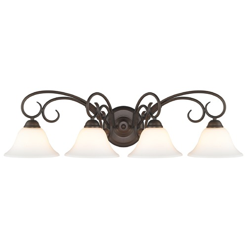 Golden Lighting Golden Lighting Homestead Rubbed Bronze Bathroom Light 8606-BA4 RBZ-OP