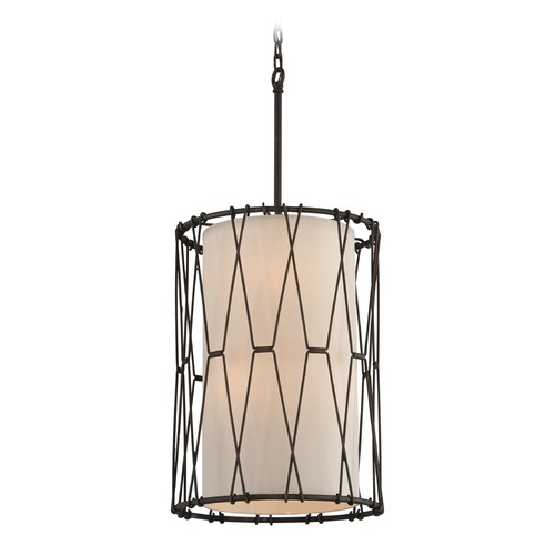 Troy Lighting Troy Lighting Buxton Vintage Bronze Pendant Light with Cylindrical Shade F4464