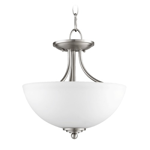 Quorum Lighting Quorum Lighting Brooks Satin Nickel Pendant Light with Bowl / Dome Shade 2750-13-65
