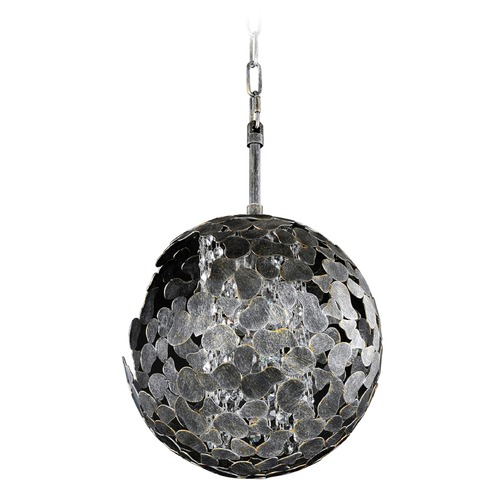 Kalco Lighting Kalco Belladonna Antique Silver Leaf Mini-Pendant Light with Globe Shade 306911AF