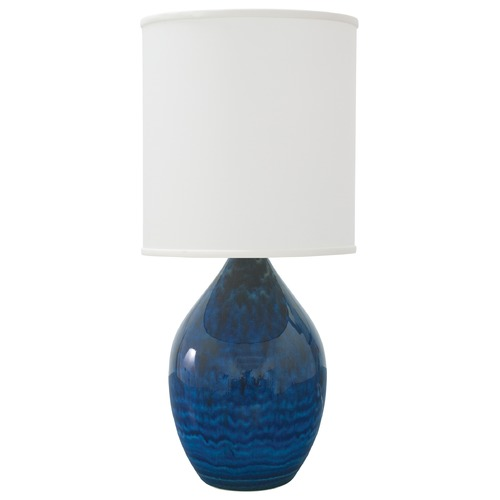 House of Troy Lighting House Of Troy Scatchard Midnight Blue Table Lamp with Cylindrical Shade GS201-MID