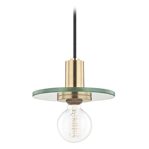 Mitzi by Hudson Valley Mid-Century Modern Brass Mini-Pendant Light Mitzi by Hudson Valley H113701S-AGB