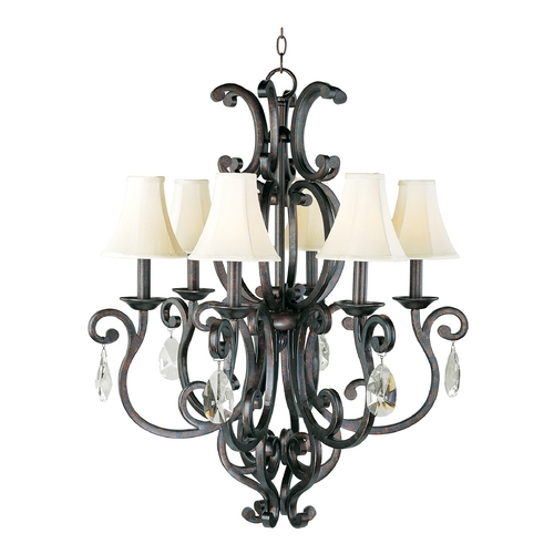 Maxim Lighting Chandelier with Beige / Cream Shades in Colonial Umber Finish 31005CU/SHD62