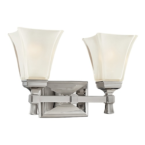 Hudson Valley Lighting Bathroom Light with White Glass in Polished Nickel Finish 1172-PN