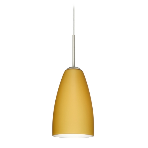 Besa Lighting Modern Pendant Light with Beige / Cream Glass in Satin Nickel Finish 1JT-1511VM-SN