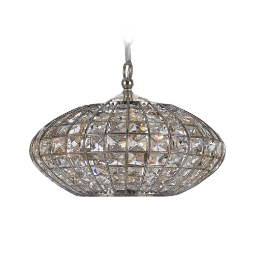 Crystorama Lighting Crystal Drum Pendant Light with Clear Glass in Antique Silver Finish 343-SA