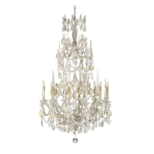 Currey and Company Lighting Crystal Chandelier in Natural Shell Finish 9085
