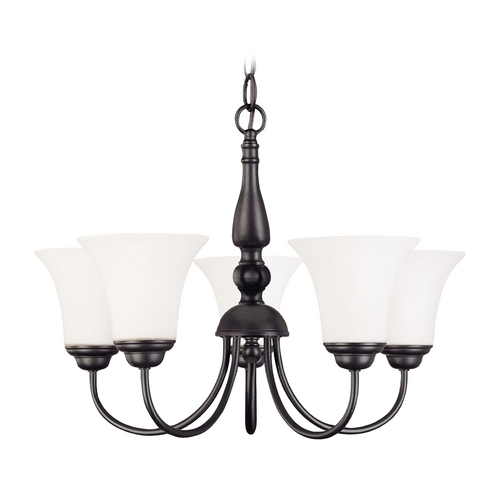 Nuvo Lighting Bronze Chandelier with White Bell Glass and Five Lights 60/1842