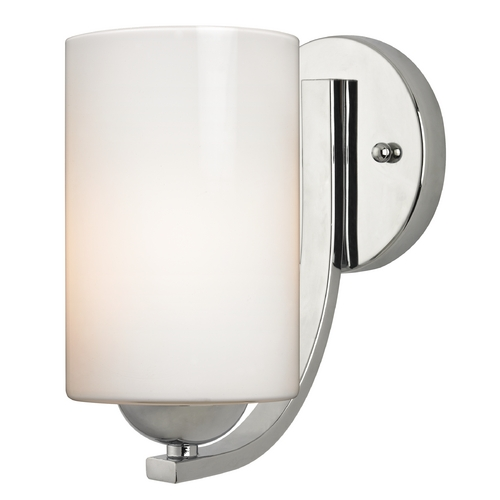 Design Classics Lighting Modern Chrome Wall Sconce with Opal White Cylinder Glass Shade 585-26 GL1024C