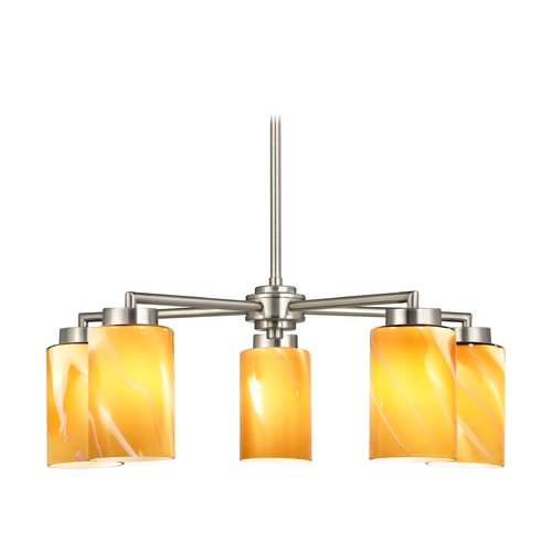 Design Classics Lighting Modern Chandelier with Butterscotch Art Glass in Satin Nickel Finish 590-09 GL1022C