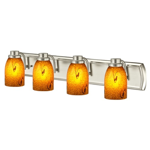Design Classics Lighting Bathroom Light with Four Lights in Satin Nickel 1204-09 GL1001D