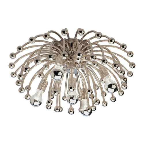 Robert Abbey Lighting Mid-Century Modern Flushmount Light Polished Nickel Anemone by Robert Abbey S1306