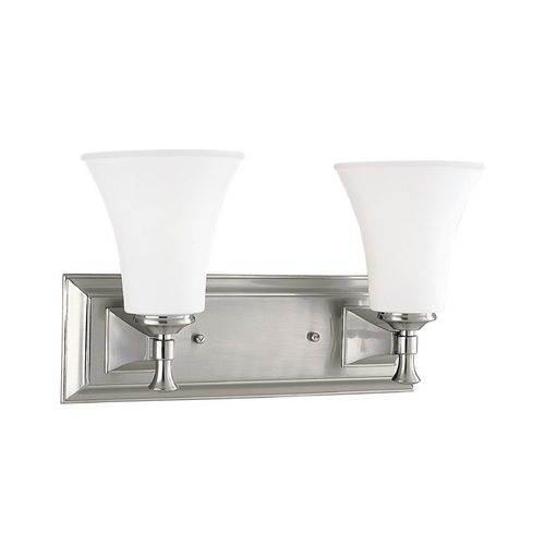 Progress Lighting Progress Bathroom Light with White Glass in Brushed Nickel Finish P3132-09