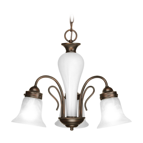 Progress Lighting Mini-Chandelier with Alabaster Glass in Antique Bronze Finish P4390-20