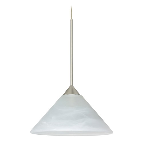 Besa Lighting Besa Lighting Kona Satin Nickel LED Mini-Pendant Light with Conical Shade 1XT-117652-LED-SN
