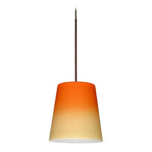 Besa Lighting Besa Lighting Canto Bronze Mini-Pendant Light with Conical Shade 1XT-5131OP-BR