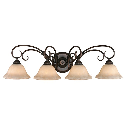 Golden Lighting Golden Lighting Homestead Rubbed Bronze Bathroom Light 8606-BA4 RBZ-TEA