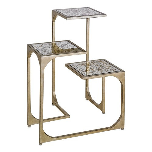 Currey and Company Lighting Currey and Company Constance Silver Leaf / Antiquegold Leaf Accent Table 4186