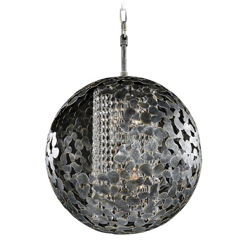 Kalco Lighting Kalco Belladonna Antique Silver Leaf Pendant Light with Globe Shade 306912AF
