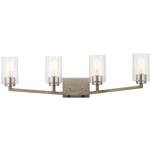 Kichler Lighting Deryn Distressed Antique Gray 4-Light Bathroom Light with Clear Seeded Glass 45035DAG