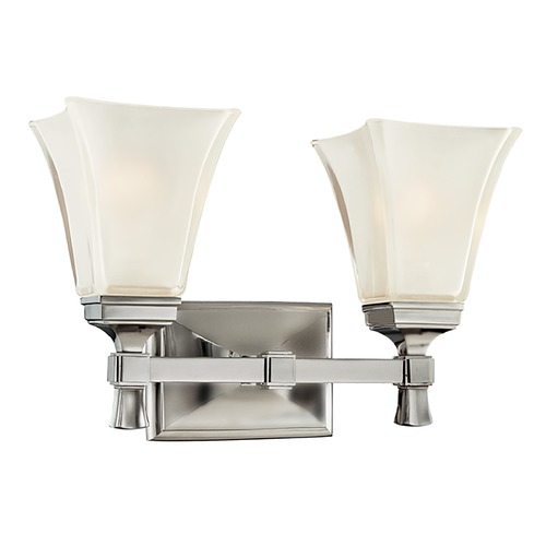 Hudson Valley Lighting Bathroom Light with White Glass in Satin Nickel Finish 1172-SN