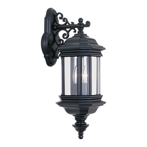 Sea Gull Lighting Outdoor Wall Light with Clear Glass in Black Finish 8840-12
