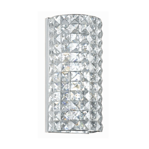 Crystorama Lighting Crystal Sconce Wall Light with Clear Glass in Polished Chrome Finish 802-CH-CL-MWP