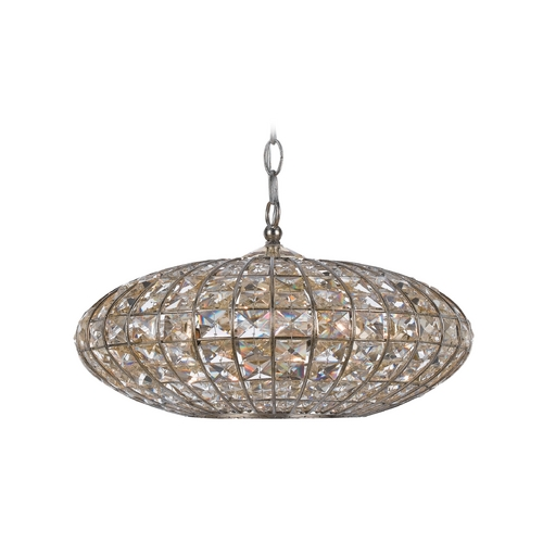 Crystorama Lighting Crystal Drum Pendant Light with Clear Glass in Antique Silver Finish 345-SA