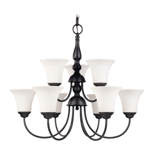 Nuvo Lighting Two Tier Chandelier with White Bell Glass Shades and Nine Lights  60/1843