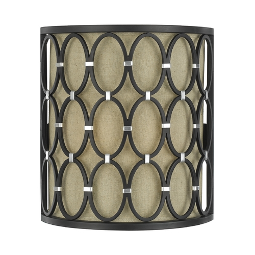 AF Lighting Sconce Wall Light with Beige / Cream Shade in Oil Rubbed Bronze Finish 8219-2W