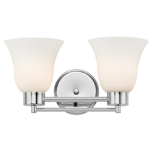 Design Classics Lighting Modern Bathroom Light with White Glass in Chrome Finish 702-26 GL9222-WH