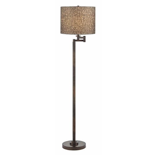 Design Classics Lighting White and Silver Swing Arm Floor Lamp with Drum Shade 1901-1-604 SH9536