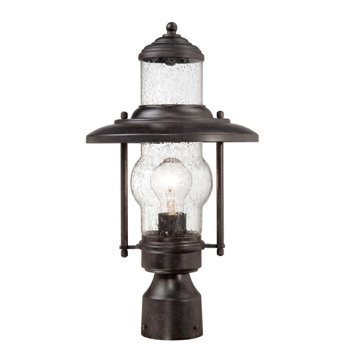 Minka Lavery Post Light with Clear Glass in Textured French Bronze Finish 72166-179