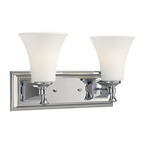 Progress Lighting Progress Bathroom Light with White Glass in Chrome Finish P3132-15
