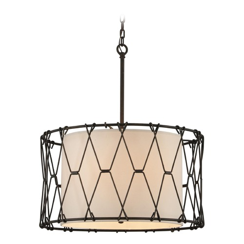 Troy Lighting Troy Lighting Buxton Vintage Bronze Pendant Light with Drum Shade F4466