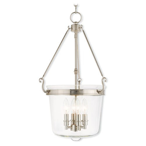 Livex Lighting Livex Lighting Rockford Polished Nickel Pendant Light with Bowl / Dome Shade 50486-35