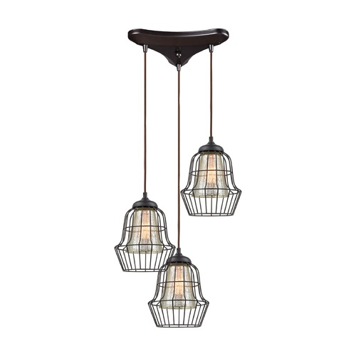 Elk Lighting Elk Lighting Yardley Oil Rubbed Bronze Multi-Light Pendant with Bell Shade 14246/3
