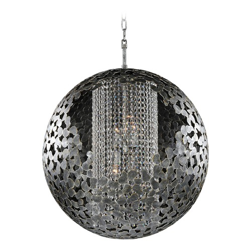 Kalco Lighting Kalco Belladonna Antique Silver Leaf Pendant Light with Globe Shade 306950AF