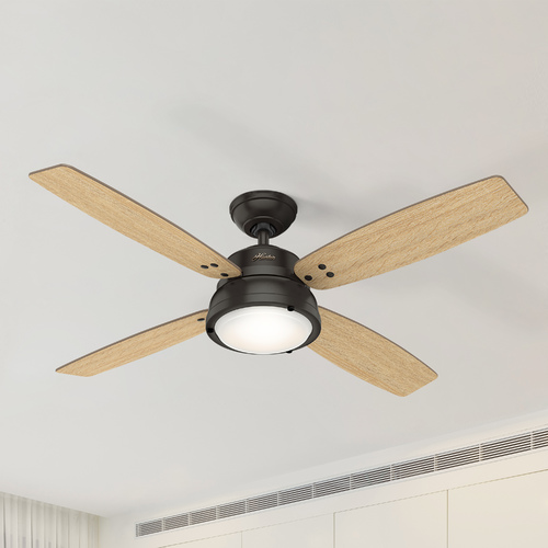 Hunter Fan Company Hunter 52-Inch Noble Bronze LED Ceiling Fan with Light with Hand-Held Remote 59438