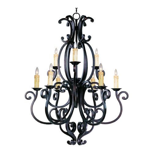 Maxim Lighting Chandelier with Beige / Cream Shades in Colonial Umber Finish 31006CU/SHD62