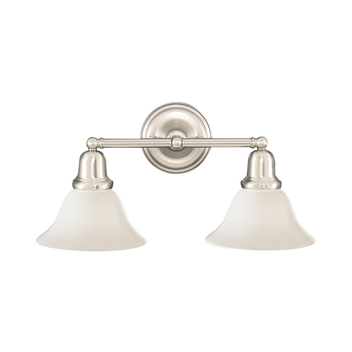 Hudson Valley Lighting Bathroom Light with White Glass in Satin Nickel Finish 582-SN-415