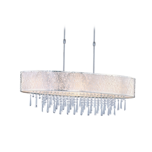 Maxim Lighting Maxim Lighting Rapture Satin Nickel Pendant Light with Oval Shade 22296WTSN