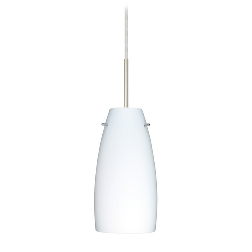 Besa Lighting Modern Pendant Light with White Glass in Satin Nickel Finish 1JT-151207-SN