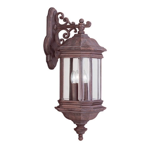 Sea Gull Lighting Outdoor Wall Light with Clear Glass in Textured Rust Patina Finish 8841-08